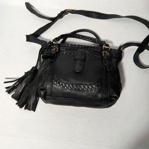 Isabella Fiore Crossbody Bag Leather Tassel Black